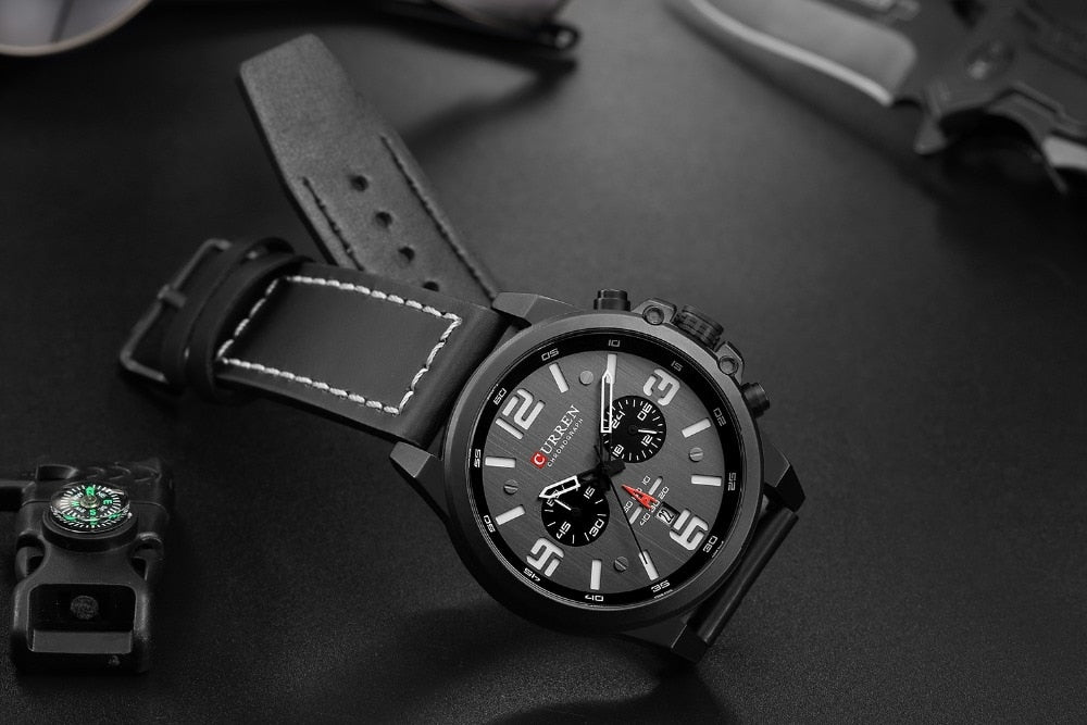 YSYH Classic Black White Chronograph Watch Men's Watches Casual Quartz Wristwatch Male Clock