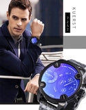 YSYH Man Watches Large Dial Men's Sports Wrist Watch Waterproof Double Time Zone Chronograph Men's Quartz Clock  New