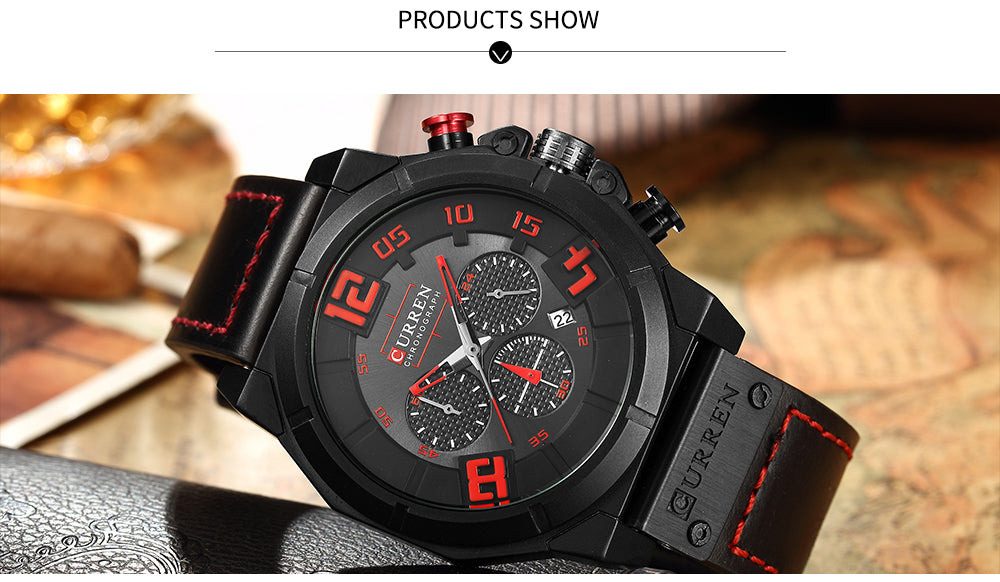 YSYH Brand Luxury  Casual Leather Strap Men's Watch Military Quartz Chronograph Hot Sale Male Clock Men Wrist Watches