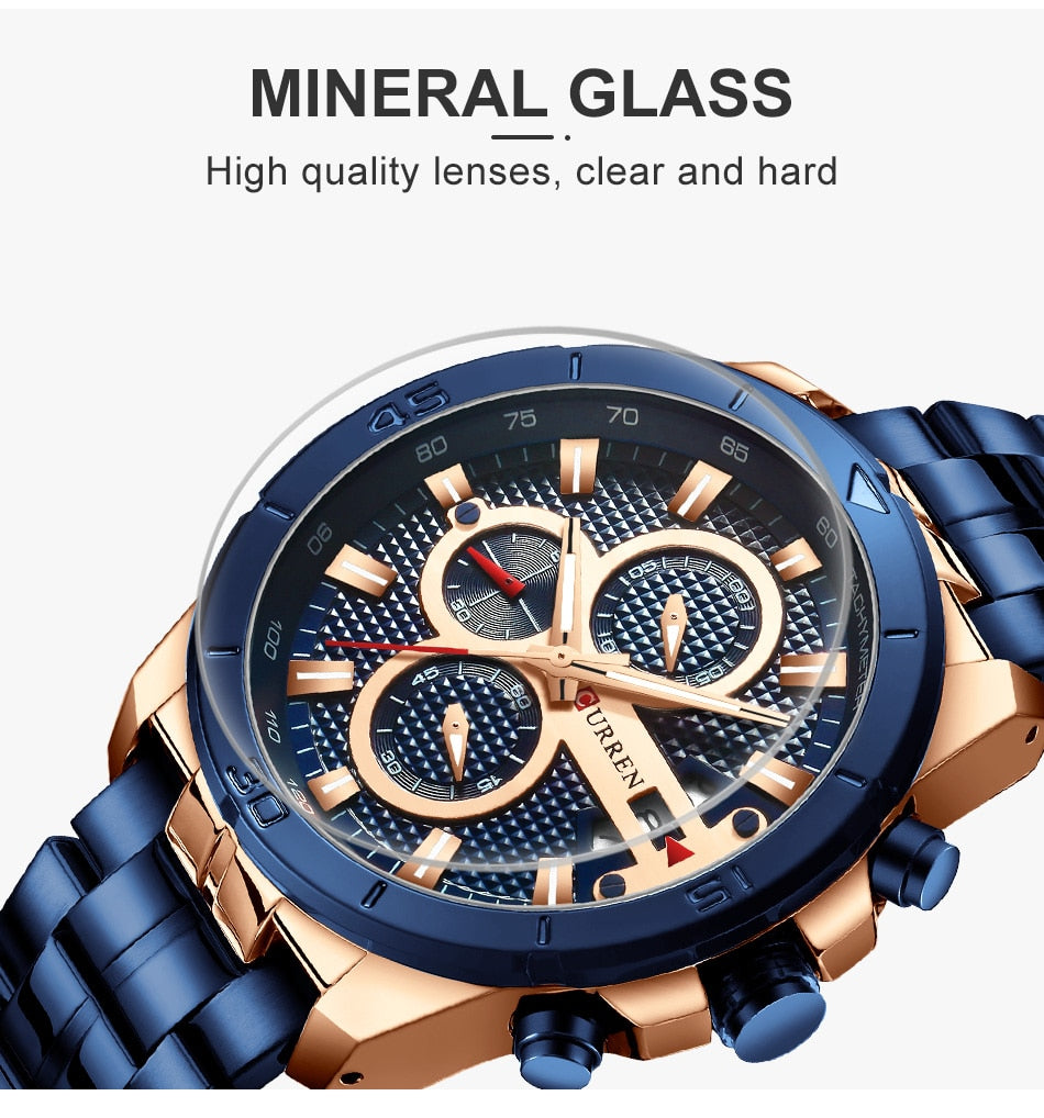 YSYH  Watches Mens Luxury Brand Chronograph Sport Watch for Men Wristwatch with Stainless Steel Band Casual Clock