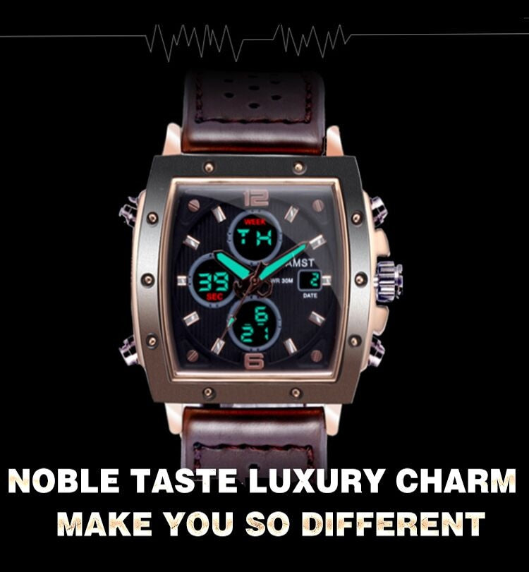 YSYH Mens Square Watch  Double Display Quartzel Ectronic Clock 50M Waterproof Watch Men Luxury Brand Leather Wristwatch