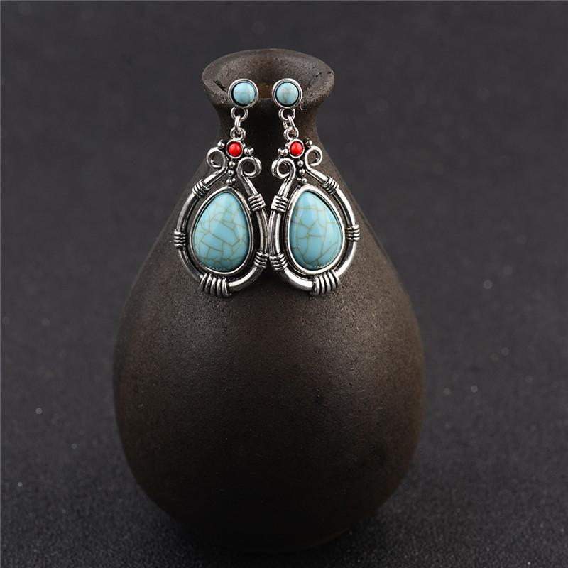 Turquoises Antique Dangles Earrings-Earrings-Rossny