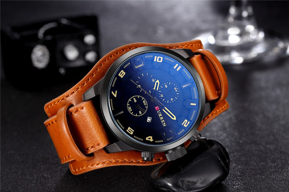 YSYH Army Military Quartz  Luxury Leather Men Watch Casual Sport Male Clock Watch