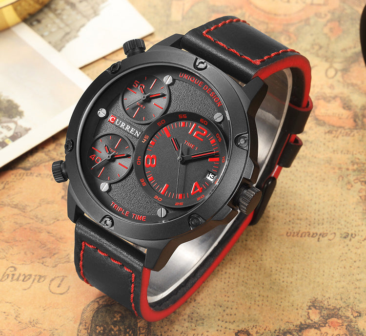 YSYH  Casual Wristwatch Military Quartz Men's Watch Multiple Time Zone Leather Strap Male Clock