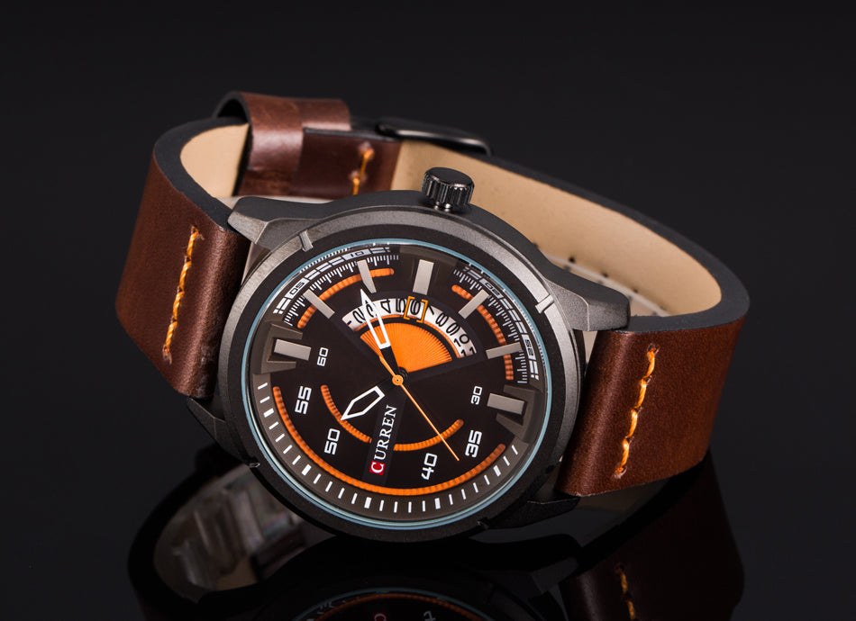 YSYH Creative Watches Casual Quartz Male Clock Display Date Leather Strap Men Wristwatch