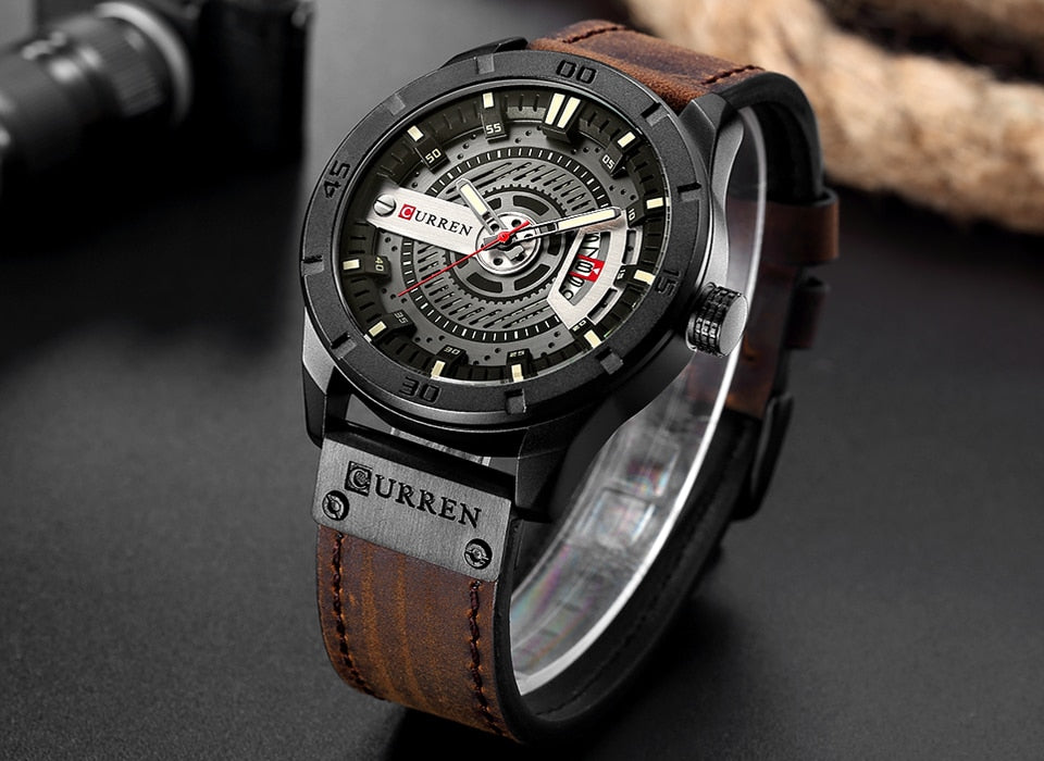 YSYH Men Military Sports Watches Men's Quartz Date Clock Man Casual Leather Wristwatches