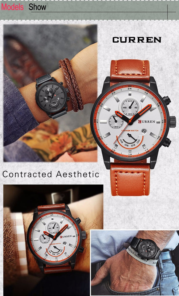 YSYH Man's Clock Analog Sport Watches Men's Leather Quartz Wrist Watch Man Clock  Hombre Gifts For Men