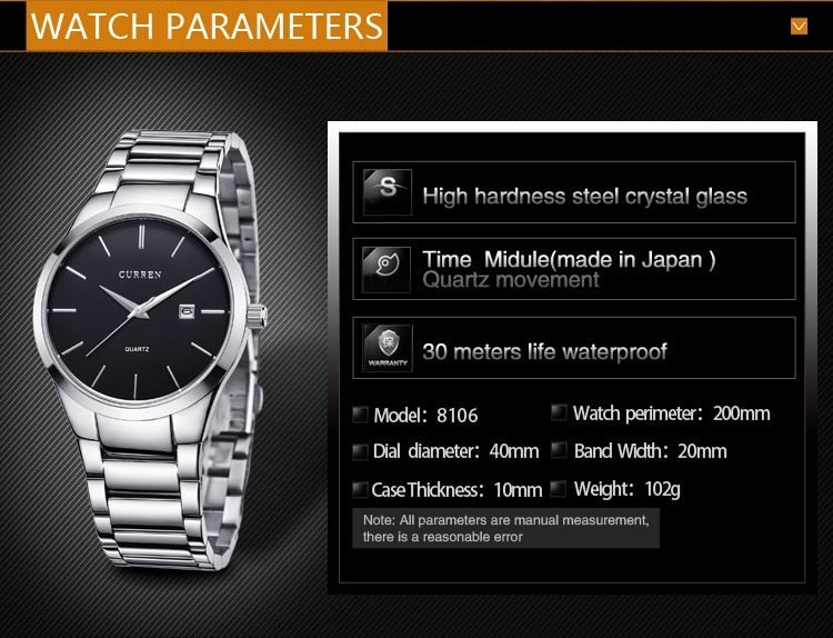 YSYH Luxury Classic  Men Watches Display Date Quartz-watch Male Wristwatch Full Steel Clock