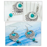 Water Drop Hollow Turquoise Earrings-Earrings-Rossny
