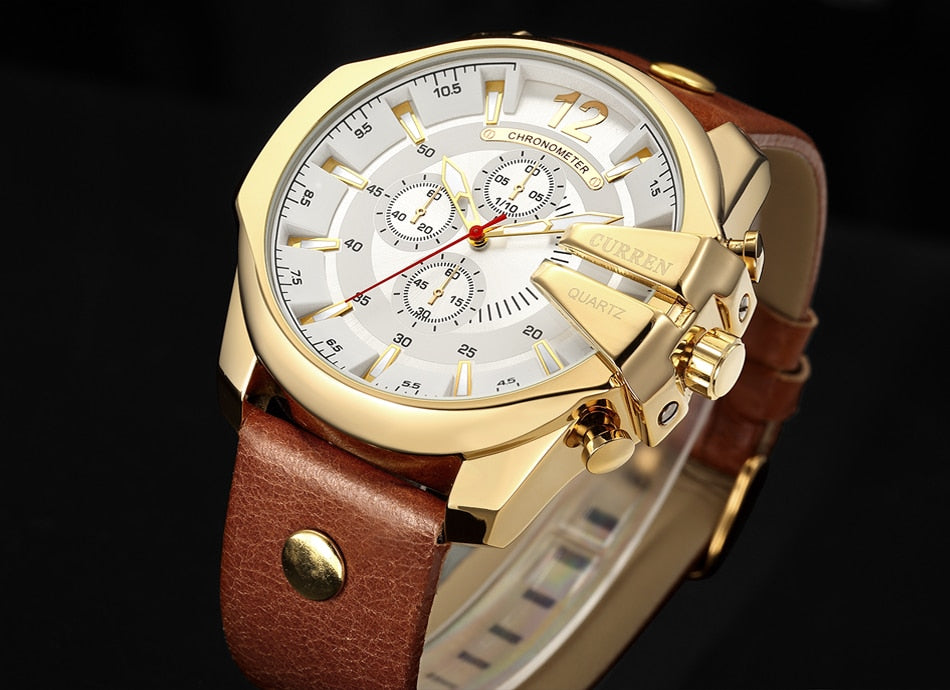 YSYH Luxury Leather Strap  Sport Men Quartz Watch Military Male Clock