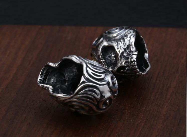 Real 925 Silver Skull Pendant 925 Sterling Skeleton Bead Pendant PUNK Jewelry Hiphop Pendant-Necklace Pendant-Rossny