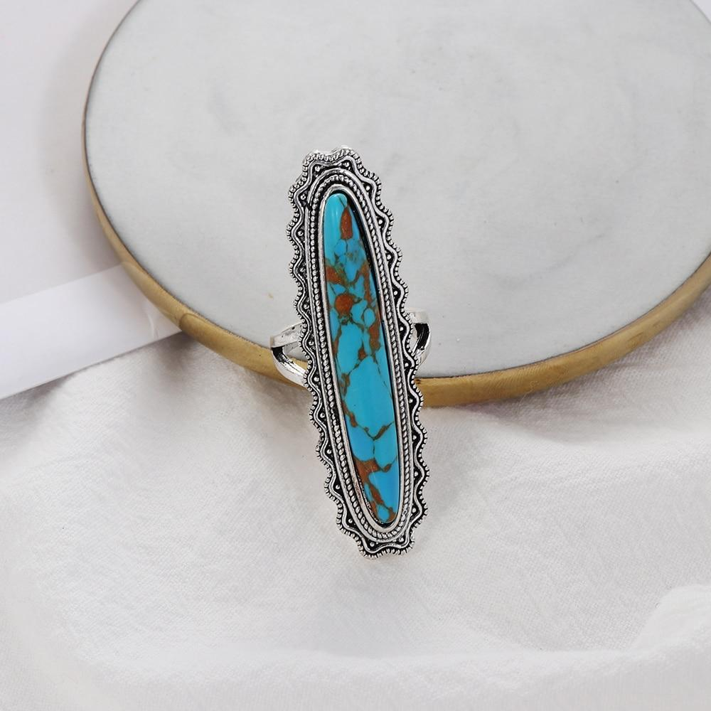 Big Blue Oval Shape Copper Mens Retro Ethnic Ring Jewelry-Rings-Rossny
