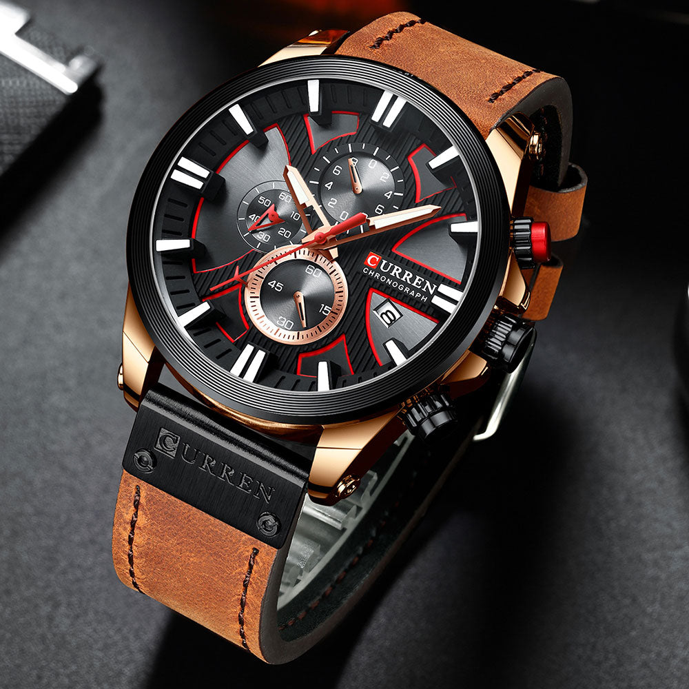 Men Watch Wrist YSYH  Luxury Leather Quartz Clock  Chronograph Wristwatch