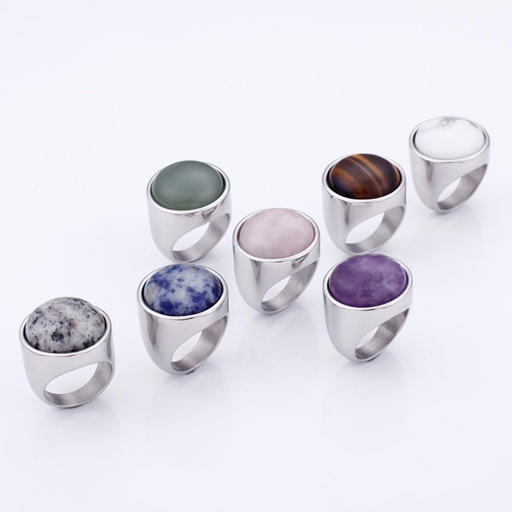 Rossny Crystal Rings Lady Marble Color Stone Rings Women Size 6-9 Antique Silver & Gold Wedding Rings Party Jewelry-Rings-Rossny