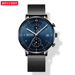YSYH Man Watches Waterproof Sport Wrist Watch Clock Male Leather Strap Chronograph Men Gift Minimalist Watch