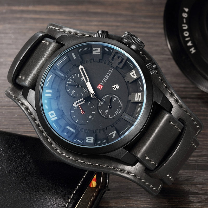 Luxury Brand YSYH Military Sports Men Watch Quartz Date Clock Casual Leather Wrist Watch   8225
