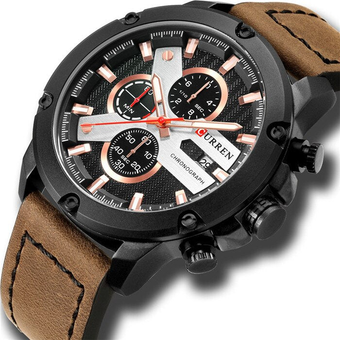 YSYH Luxury Men Multifunction Watch  Leather Quartz Wistwatches With Gifts For Men