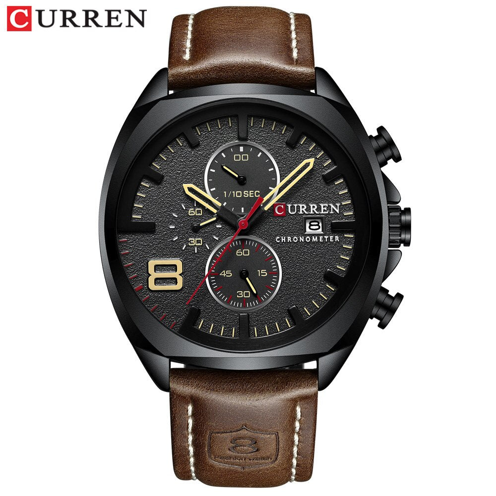 YSYH Men's Watch Leather Strap Chronograph Sport Watches Mens Wristwatch