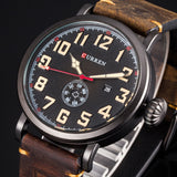 Male Clock YSYH  Genuine Leather Strap Men's Wristwatch Display Week Date Quartz-Watch  Men Watches