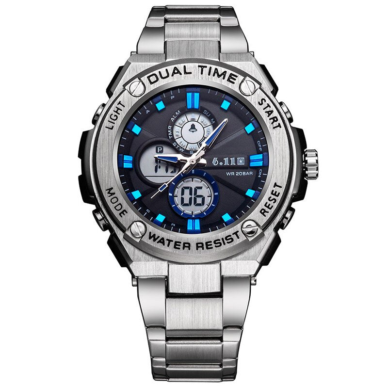 Man Multifunction Sports Watch Stainless Steel Strap Dual Display Quartz Watches Men's Waterproof LED Digital Clock  New