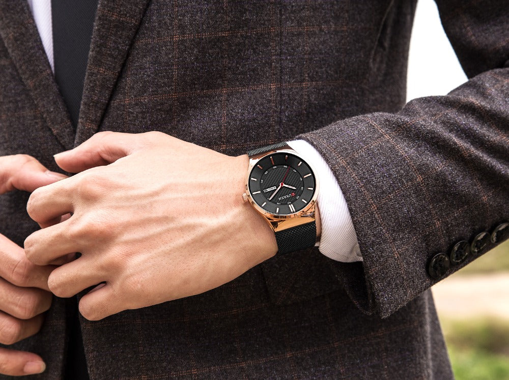 Men Simple Watch  Man Fashion Brand YSYH Casual Business Quartz Wristwatch With Week and Date Steel Mesh Relojes Hombre