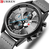 YSYH Men's Sports Watch with Chronograph Leather Strap Watches Quartz Wristwatch