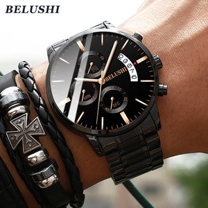 Men's watch luxury brand BELUSHI high-end man business casual watches male waterproof sports quartz wristwatch relogio masculino