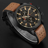 YSYH Brand Quartz Watch Men Military Leather Sports Watches