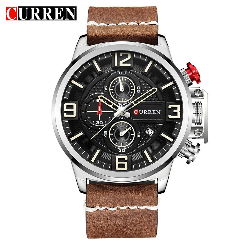 Men's Watch YSYH Brand Luxury  Chronograph Quartz Sports Wristwatch High Quality Leather Strap Date Male Clock