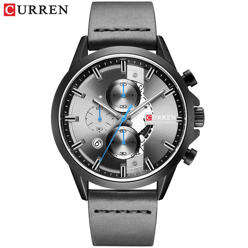 YSYH Luxury Chronograph Sports Men's Watch Casual Calendar Wristwatch with Leather Strap Male Clock