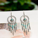 Vintage Silver Turquoise Tassel Beaded Earrings