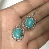 Vintage Turquoises Alloy Pattern Dangle Earrings-Earrings-Rossny