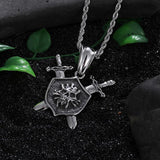 Viking Style Skull Stainless Steel Rock Skeleton Pendant Necklace Long Chain Cool Biker-Necklace Pendant-Rossny