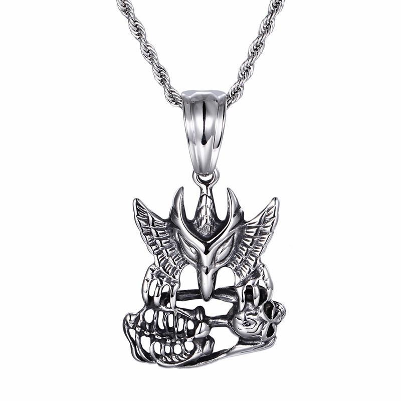 New Punk Necklace Personalised Stainless Steel Eagle Skull Pendant Long Twisted Chain Necklaces Cool Biker Gifts-Necklace Pendant-Rossny