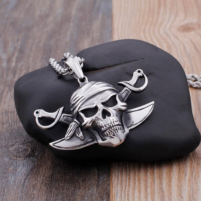 Viking Pirate Skull Stainless Steel Pendant Necklace Jewelry-Necklace Pendant-Rossny