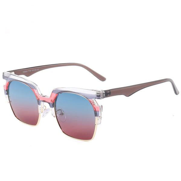 Womens Square Stripe Fashion Polarized Sunglasses - Bikini Basix