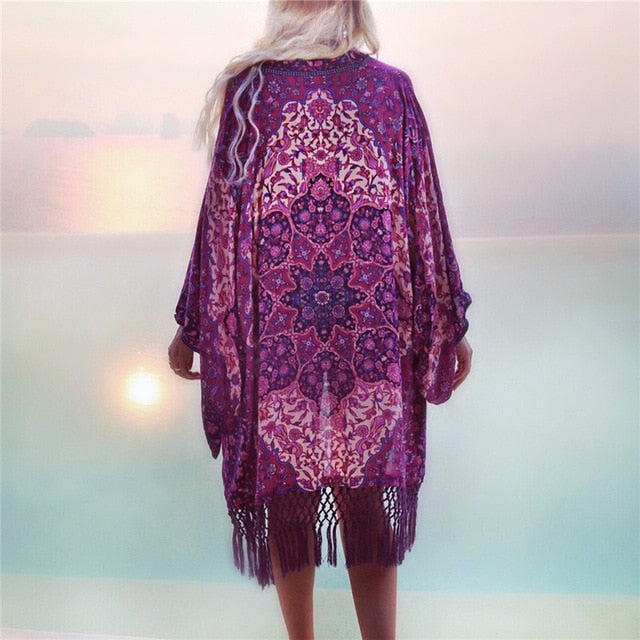 Womens Chiffon Engineered Mandala Beach Cover With Tassel Trim