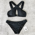 Black Criss Cross Ruffle Trim Bikini Set