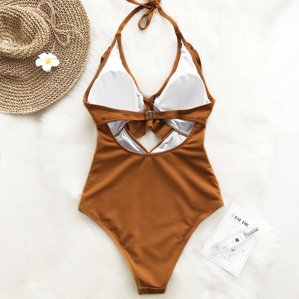 Womens Cross Ruffle Boho One Piece Swimsuit - Bikini Basix