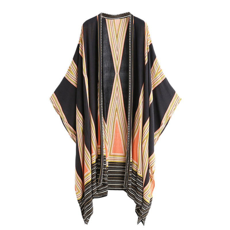 Womens Egyptian Pattern Long Sleeve Beach Kimono Cover Up - Bikini Basix