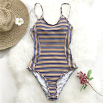 Womens French Riviera Striped One Piece Swimsuit