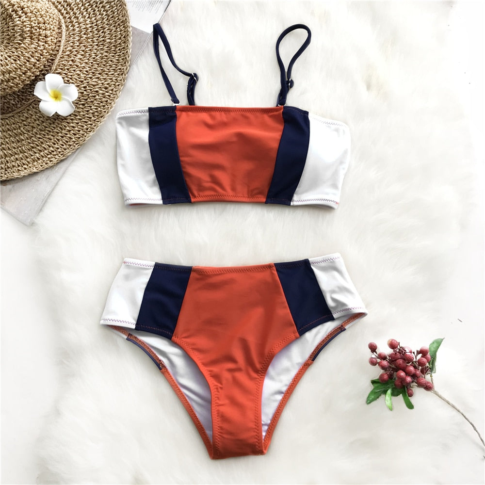 Nautical Color Blocked Bandeau Bikini Set