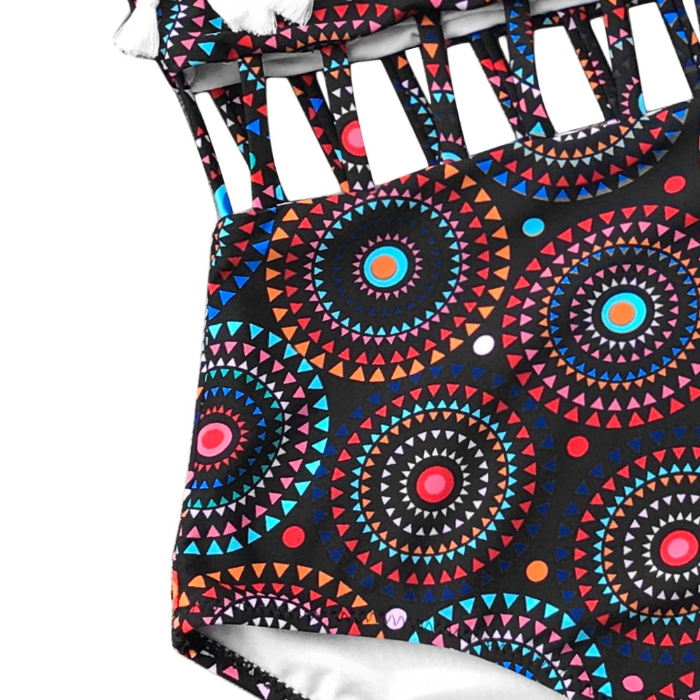 Womens Whimsical Bohemian Coachella One-Piece Swimsuit