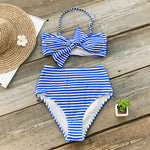 Womens Vintage Inspired  Blue And White Striped Bowknot Bikini Set