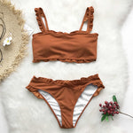 Womens Sweet Carmel Bikini Set with Ruffles