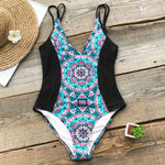 Womens Boho Mandala Print One-Piece Swimsuit