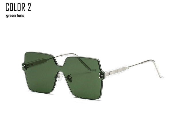 Womens Oversized Square Rimless Sunglasses