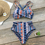 Womens Romantic Prairie Print Cross Front Bikini Set