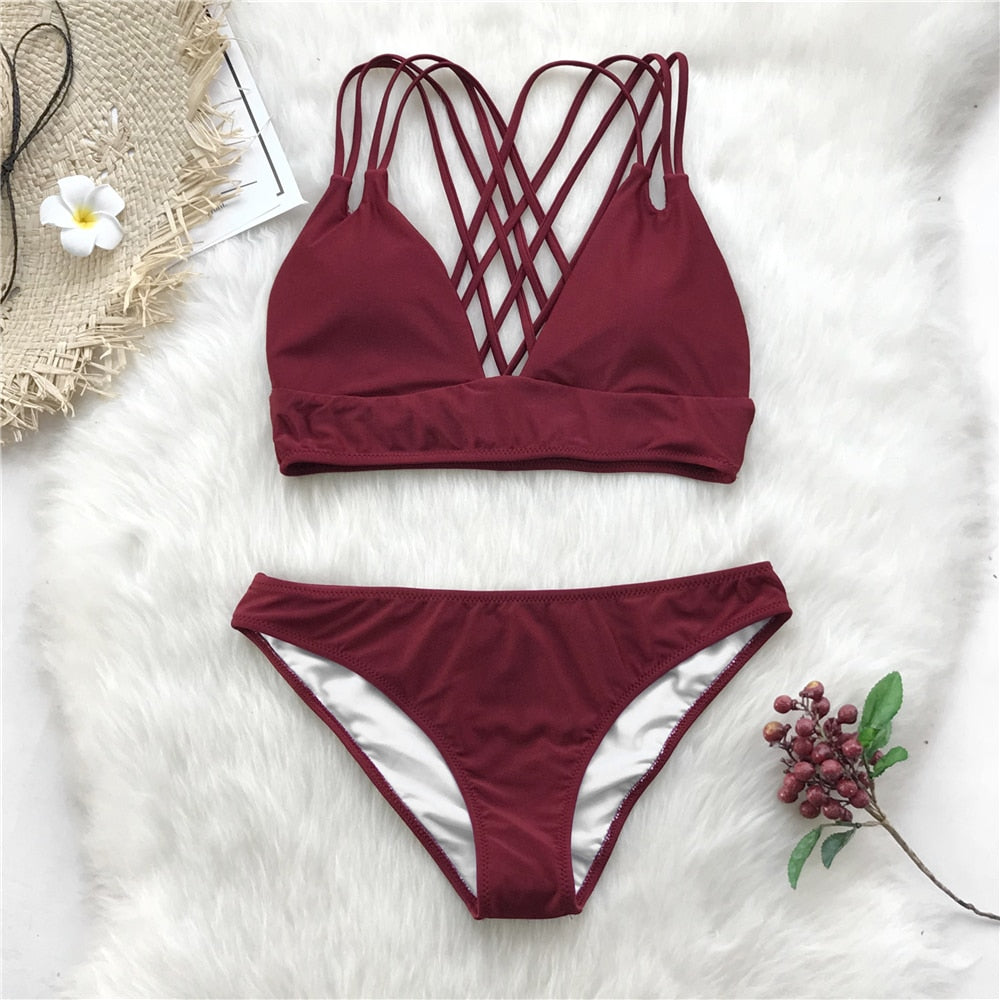 Womens Multi Strap Criss Cross Bikini Set