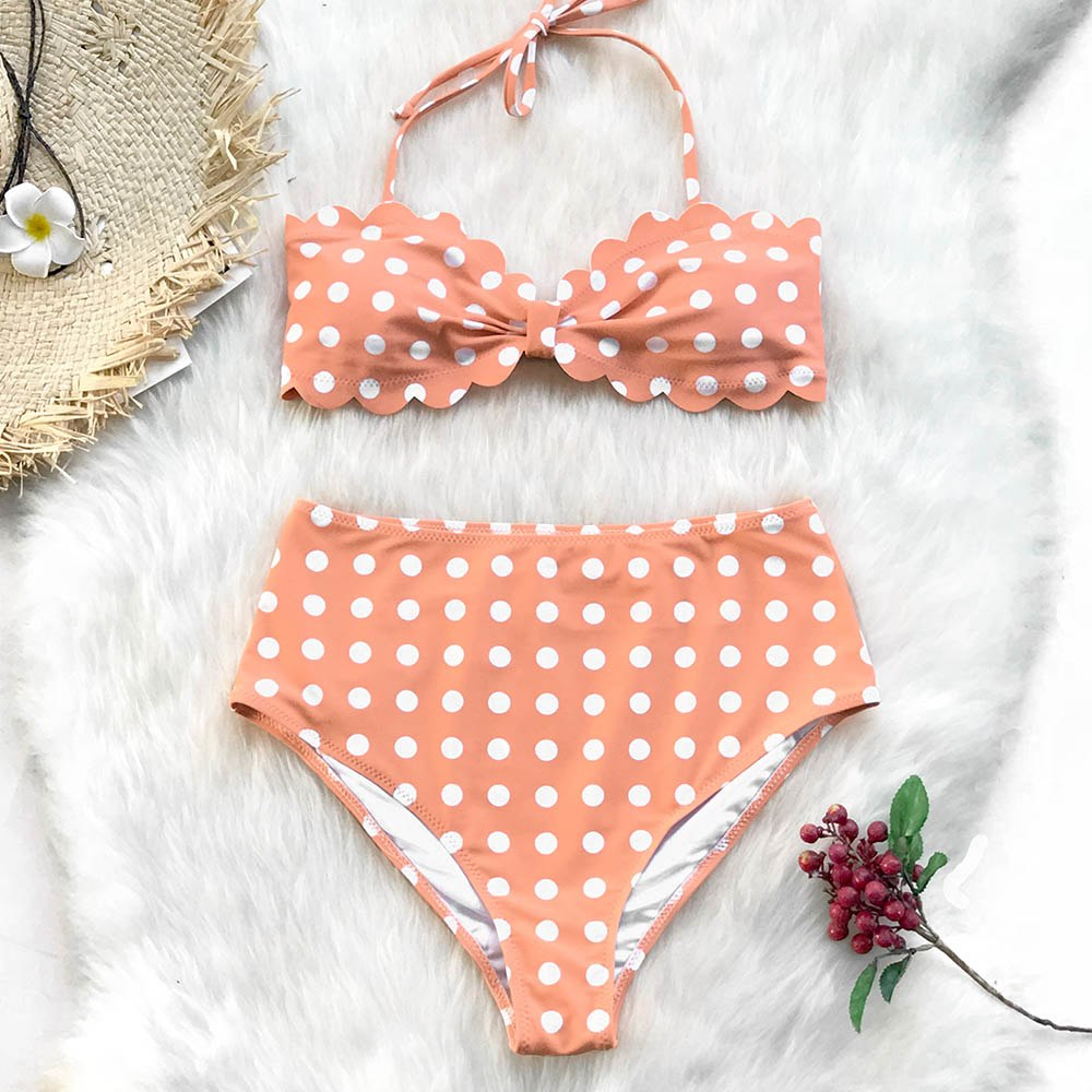 Womens Flirty Peach Polka Dot Scallop Bikini Set